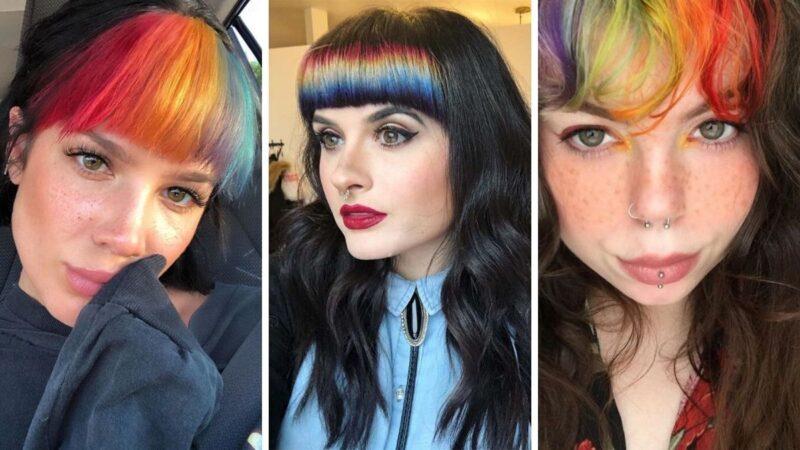 tęćzowa grzywka, kolorowa grzywka, rainbow bangs, kolorowe włosy, tęczowe wlosy, włosy z tęczową grzywka, włosy z kolorową grzywką