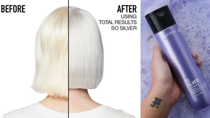 ochładzanie koloru włosów, chlodny blond, jasne włosy, zimny blond, białe włosy, siwe włosy, matrix so silver efekty