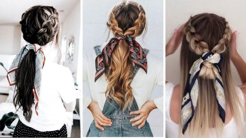 warkocze z apaszką, fryzury z warkoczami, modne fryzury, fryzury damskie, trendy 2020