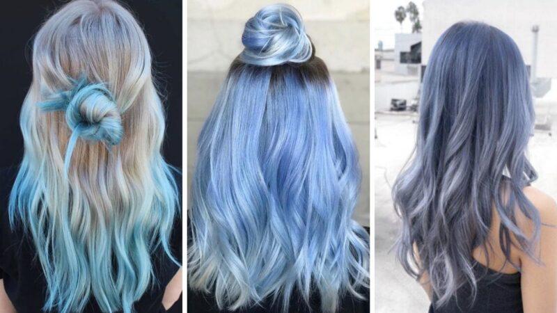 pastelowe włosy, niebieskie włosy