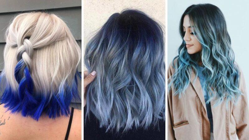 niebieskie ombre, ombre na niebieskich włosach