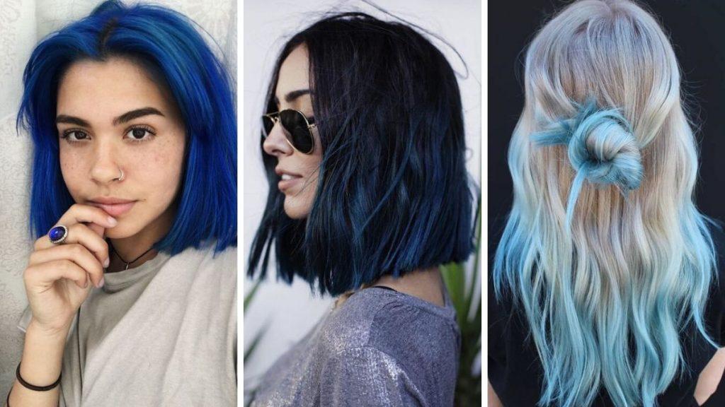 niebieskie włosy, modne kolory włosów 2020