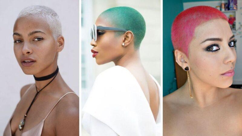 buzz cut, kolorowe krótkie włosy