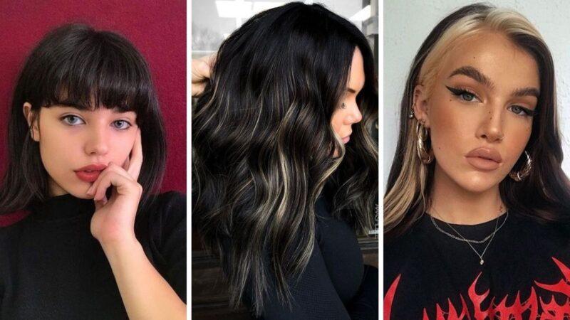 czarne włosy, czarny kolor włosów, czarne farbowane włosy