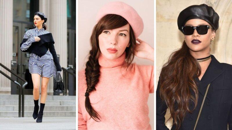związane włosy z beretem