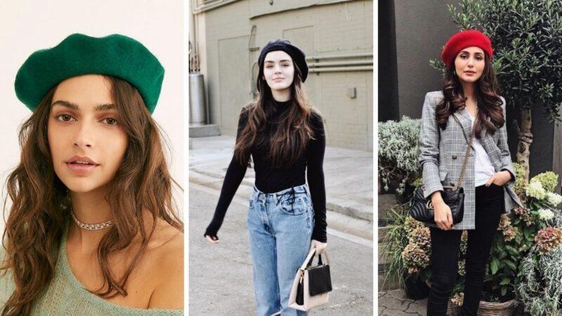 długie włosy i beret, beret na długich włosach, beret na jesień