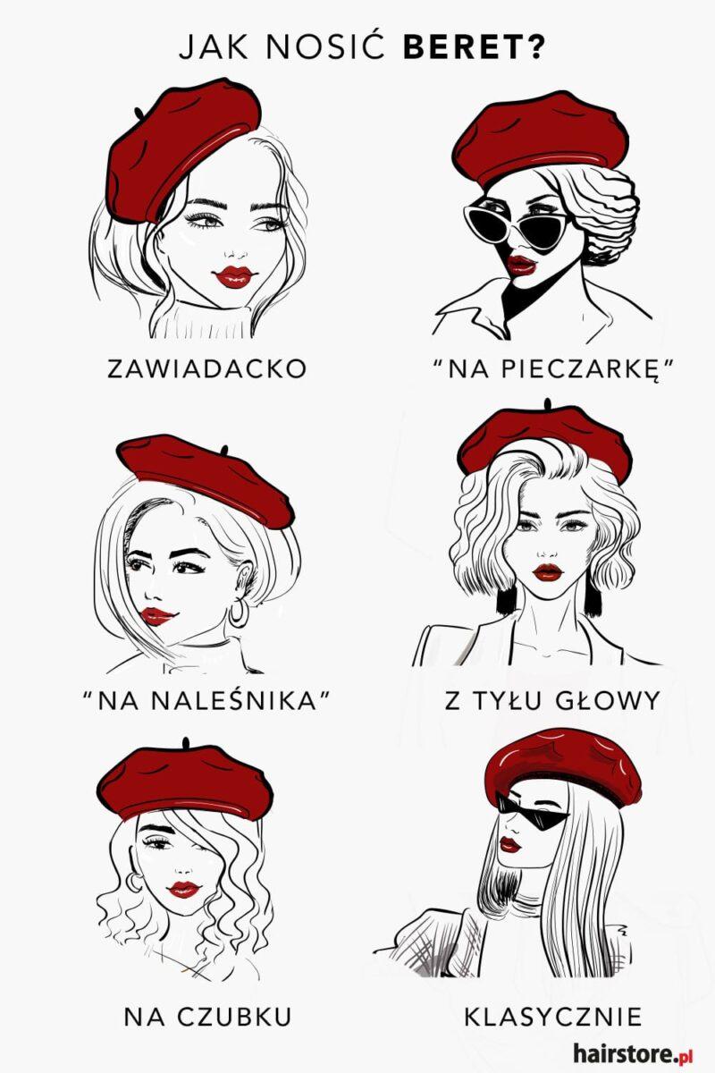 jak nosić beret, sposoby noszenia beretu, style noszenia beretu,