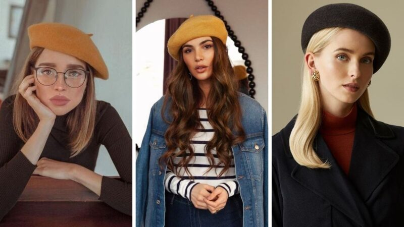 beret i długie włosy