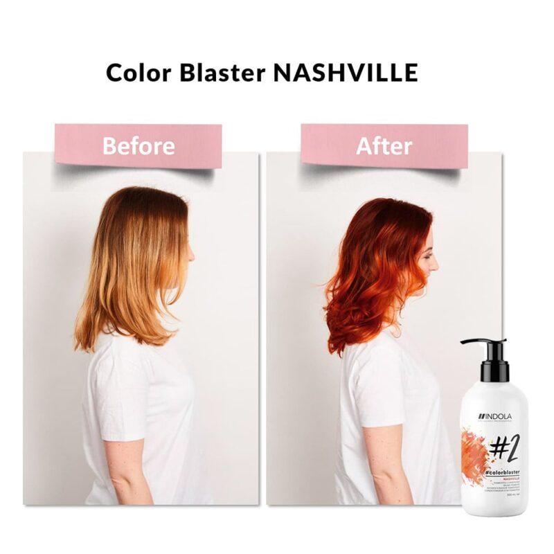 indola color blaster nashville efekt, color blaster rude włosy