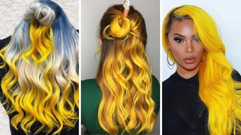 żółte włosy, kolory roku 2021, kolory roku pantone, illuminating yellow, ultimate grey