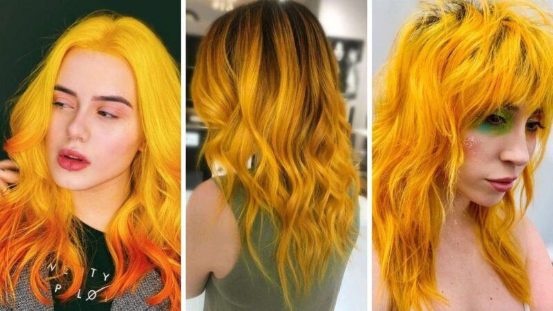 kolorowe włosy, koloryzacja kreatywna, żółte włosy, yellow hair