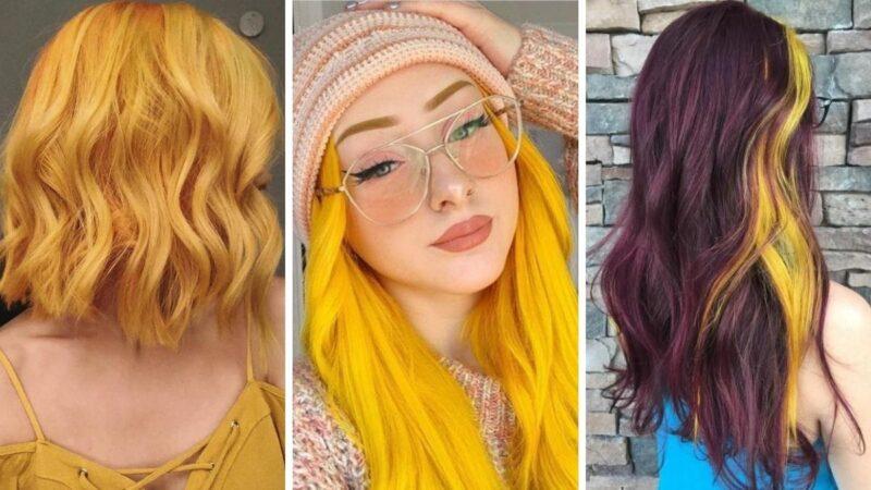 żółte włosy, kolorowe włosy, koloryzacja kreatywne, modne kolory włosów 2021