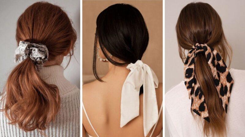modne dodatki do włosów, jak nosić kitkę, trendy fryzury 2021