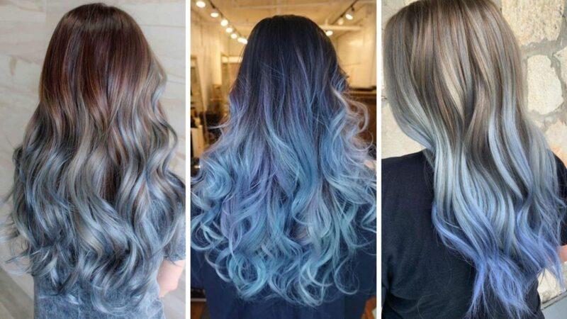 niebieskie ombre, błękitne ombre, ombre na ciemnych włosach