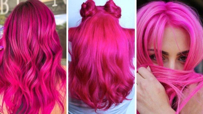 fioletowe włosy, włosy z kolorze magenta