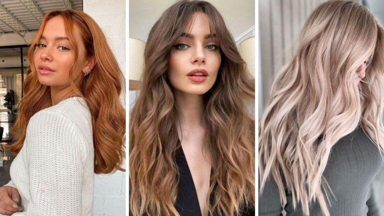 modne kolory włosów na sezon jesienno-zimowy 2021/2022, szampański blond, rude włosy, czekoladowy brąz