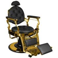 Fotel barberski Gabbiano Gulio Gold, czarny