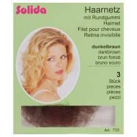 Solida, siatka na włosy Haarnetz z gumką, różne kolory, 3 szt.