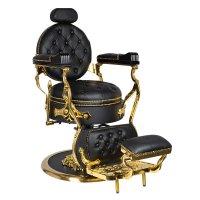 Fotel barberski Gabbiano Cesare Gold, czarny