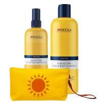 Indola Sun, ochrona słońcem, zestaw szampon i odżywka + torebka na bikini GRATIS