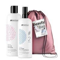 Indola, zestaw prezentowy, szampon + odżywka w sprayu + torba, 300ml + 300ml