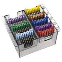 Komplet nasadek metalowych dystansowych do maszynek Wahl, Ermila. Moser, kolorowe, 8 szt. - uszkodzone opakowanie