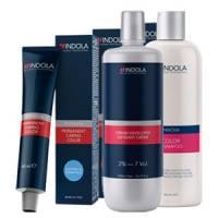 Indola Permanent Color, zestaw: farba + oxydant + szampon