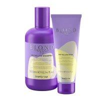 Inebrya Blondesse No Yellow, zestaw do włosów siwych i rozjaśnianych, 300ml + 250ml