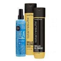 Matrix Hello Blondie, zestaw do włosów blond + termoochrona, 300ml + 300ml + 250ml