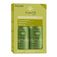 INOAR Argan Oil DUO PACK, szampon + odżywka wygładzająca, 2x250ml