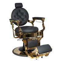 Fotel barberski Gabbiano Claudius Gold, czarny