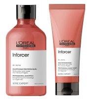 Loreal Inforcer, zestaw do włosów łamliwych, szampon 300ml + odżywka 200ml