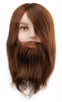 Efalock, główka treningowa Ben z brodą, włosy ludzkie, brązowe, 25cm
