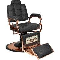 Fotel barberski Gabbiano Boss, HD miedź old leather czarny