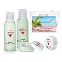 Arkana Sakura Sensitive, podróżny zestaw mini kosmetyków łagodzących, kosmetyczka gratis
