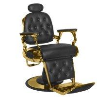 Fotel barberski Gabbiano Francesco Gold, czarny