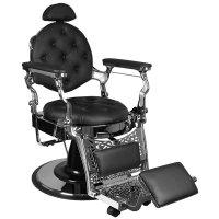 Fotel barberski Gabbiano Gulio Silver, czarny