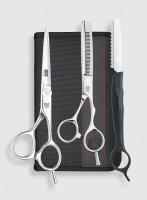 Zestaw stylisty Kasho Design Master, nożyczki + degażówki + nóż chiński