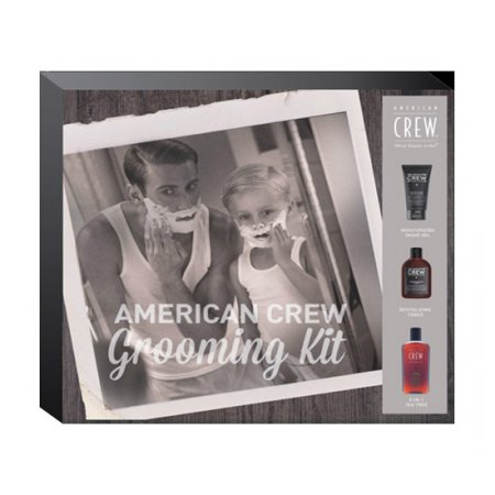 American Crew Grooming Kit, zestaw: krem do golenia 150ml + tonik po goleniu 150ml + szampon 3w1 Tea Tree 100ml
