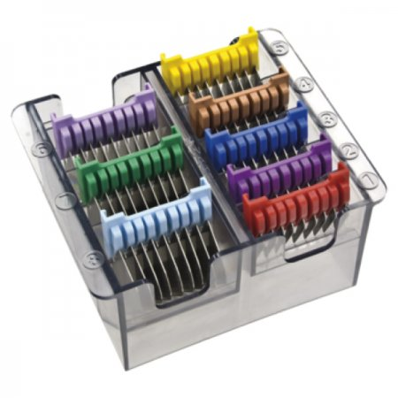 Komplet metalowych nasadek dystansowych do maszynek Wahl, kolorowe, 8 szt.