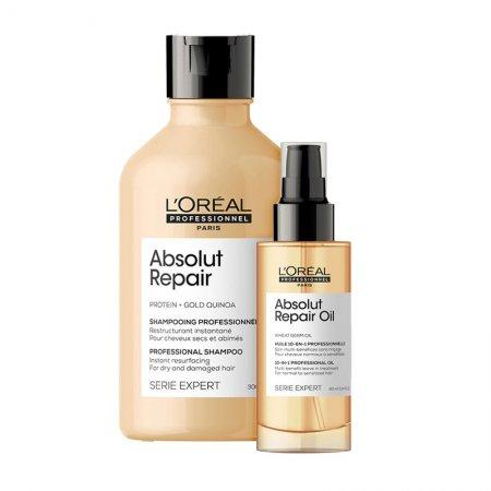 Loreal Absolut Repair, zestaw do włosów zniszczonych, 300ml + 90ml