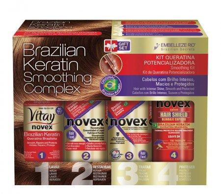 Novex Brazilian Keratin, zestaw wygładzający i odbudowujący, 4x100ml