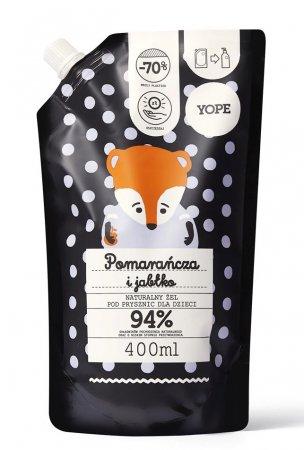 Yope, żel pod prysznic dla dzieci Pomarańcza i Jabłko, 400ml, refill