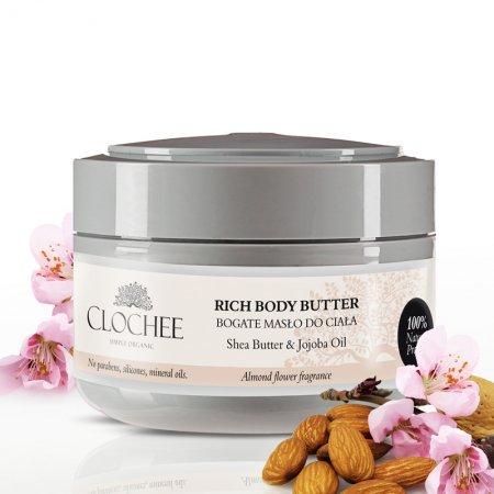 Clochee, bogate masło do ciała o zapachu migdałowo-kwiatowym, 250ml