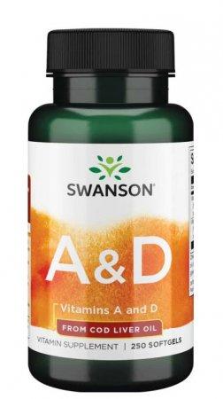 Swanson, witamina A & D 5000/400, 250 kapsułek miękkich