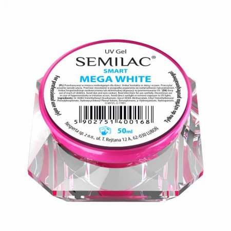 Semilac UV Gel Smart, żel do paznokci, Mega White, 50ml