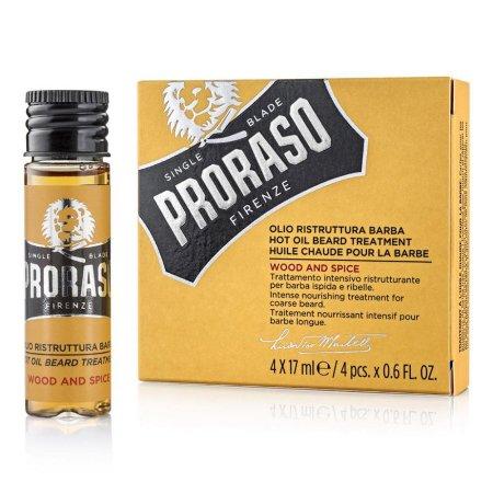 Proraso Hot Oil, gorący olejek - kuracja do pielęgnacji brody Wood&Spice, 4x17ml