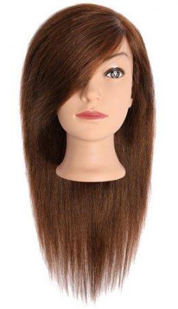 Efalock, główka treningowa Julia, włosy ludzkie, brązowe, 40-45cm