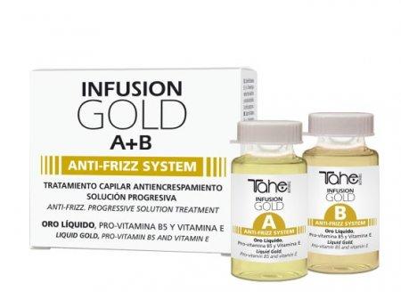 Tahe Botanic Gold Finishing, ampułki przeciw puszeniu się włosów, system A+B, 2 x 10ml