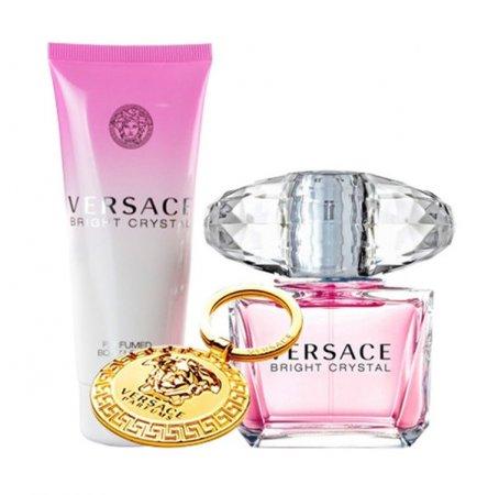 Versace Bright Crystal, zestaw perfum edt 90ml + 100ml balsam do ciała + breloczek (W)
